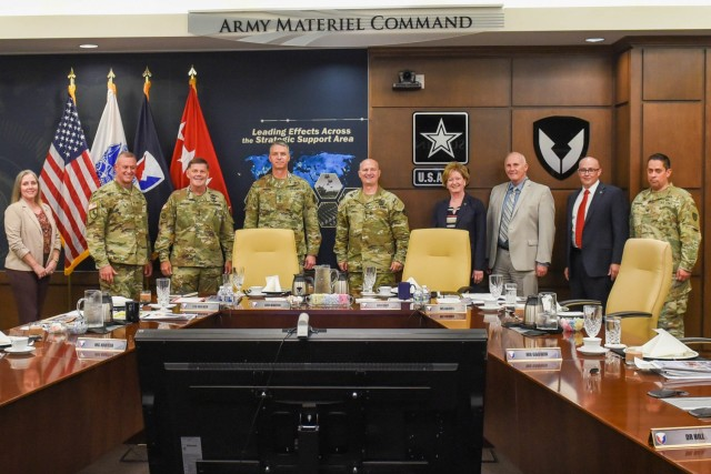 The Vice Chief of Staff of the Army Gen. Joseph Martin, fourth from left, joins with members of the Army Materiel Command leadership team, led by Gen. Ed Daly, fifth from left, to discuss AMC's impact on Army readiness. The AMC team briefed Martin on how the materiel enterprise is enabling the Army priorities of people, readiness and modernization. Daly reviewed AMC's support to the Joint Force, the fight against the COVID-19 virus, the Organic Industrial Base 15-year modernization plan, AMC's role in the Army's Regionally Aligned Readiness and Modernization Model, and investments to Army housing and other key infrastructure at our installations worldwide.