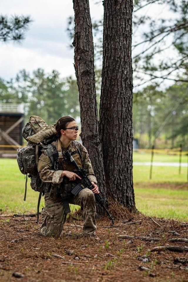 Capt. Christina Plumley, 97th Civil Affairs Battalion, 95th Civil Affairs Brigade, Special Operations, Airborne participates in a culminating exercise during the Reconnaissance Surveillance Leaders Course at Fort Benning, Ga. Plumley became the first female to graduate from the course on April 16, 2021.