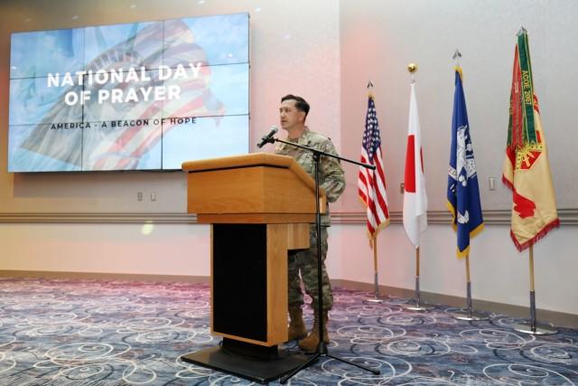 Col. Thomas Matelski, commander of U.S. Army Garrison Japan, speaks during the National Day of Prayer Lunch at the Camp Zama Community Club, Camp Zama, Japan, May 3. Matelski was the keynote speaker.
