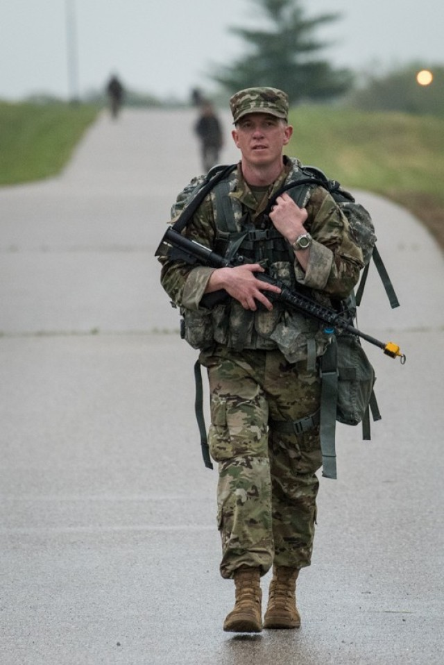 Air Force Tech. Sgt. Darren Ruth, 368th Training Squadron, competes in the 12-mile ruck march event April 28. Ruth was named MSCoE Joint Service NCO of the Year.