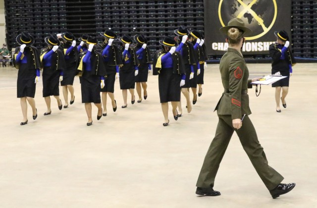 JROTC Cadets from Leavenworth High School in Leavenworth, Kansas, compete in the All-Service National Drill Competition in Daytona, Florida May 1. (Photo by Michael Maddox, Cadet Command Public Affairs)
