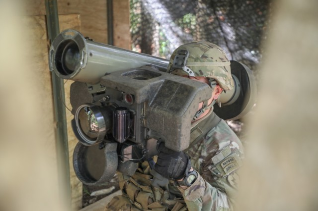 1st Lt. Nathan Watkins, 2nd Battalion, 14th Cavalry Regiment, 25th Infantry Division, simulates a misfire of a FGM-148 Javelin missile on Schofield Barracks, Hawaii, April 27, 2021, for the Expert Soldier Badge/Expert Infantry Badge competition. The EIB/ESB is reserved for Soldiers possessing military occupational specialties of infantryman or special forces, while the Expert Soldier Badge is open to the remainder of Soldiers aside from medics and it tests Soldiers' abilities on basic soldiering skills in an intense competition.