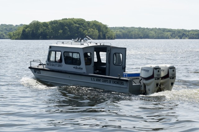 The U.S. Army Corps of Engineers Nashville District's Water Quality Survey vessel and team is on J. Percy Priest Lake in Nashville, Tennessee, April 27, 2021, to collect water samples. (USACE Photo by Leon Roberts)
