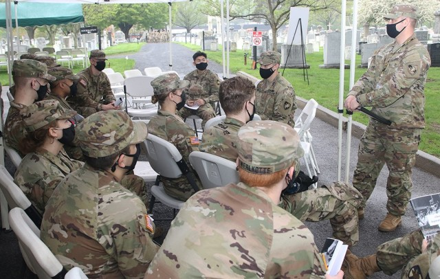 """During the reflection time period, Sgt.1st Class Adam Potter, an infantryman and F-1 Company TAC NCO, spoke to the cadets about understanding the affirmation process and that despitethemany things that cango wrong, the Army is """"a good job,agood career, a good profession."""""""