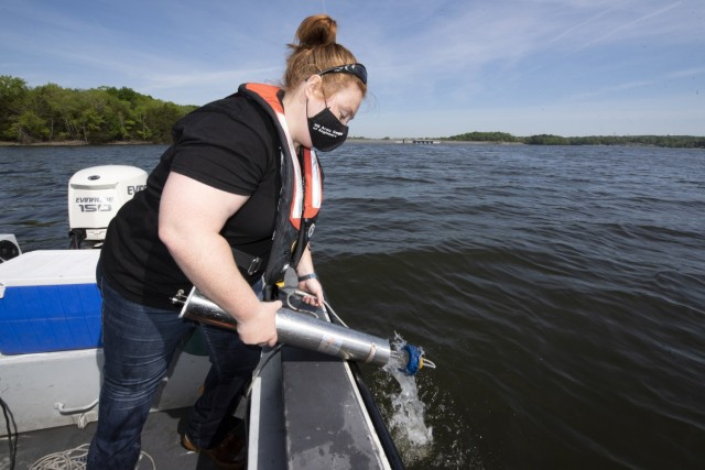 Sarah Pedrick, biologist in the U.S. Army Corps of Engineers Nashville District's Water Management Section, collects water samples at J. Percy Priest Lake in Nashville, Tennessee April 27, 2021. The survey took place in 97 feet of water above the old river channel. (USACE Photo by Leon Roberts)