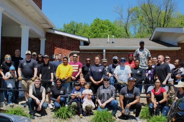 Volunteers from 1st Theater Sustainment Command spent an afternoon of yard beautification April 30, 2021 at SpringHaven Domestic Violence Shelter in Elizabethtown, Kentucky. The volunteers' efforts, in support of Sexual Assault Awareness and Prevention Month, included spreading mulch, weeding, and planting flowers.