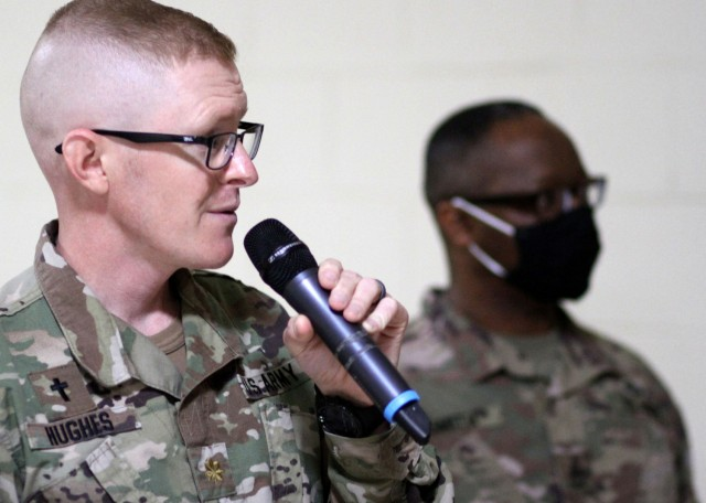 Army Reserve Maj. Eric Hughes, deployed to Camp Arifjan, Kuwait, with the Indianapolis-based 310th Sustainment Command (Expeditionary), to serve as the 1st Theater Sustainment Command's operational command post family life chaplain, speaks at an April 14, 2021 training for the camp's chaplains and enlisted religious affairs specialists. Hughes said he heard the call to ministry during his 2005-2006 deployment to Bagram, Afghanistan, as a Kansas Air National Guard staff sergeant and munitions technician assigned to A-10 Thunderbolts and AC-130s. (U.S. Army photo by Maj. Chad M. Nixon)