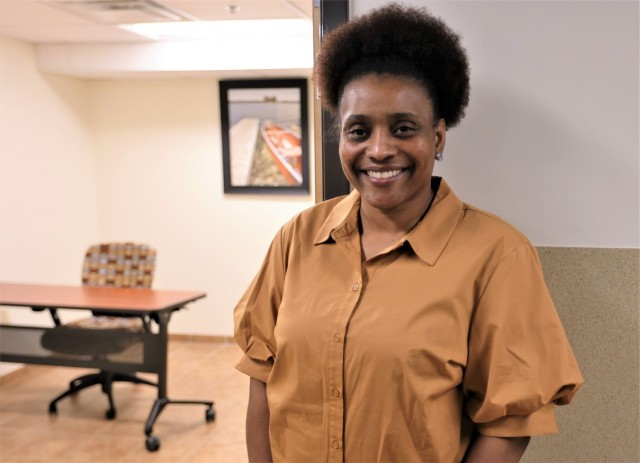 New ACS specialist Summer Carney stands outside of one of the Fort Knox coworking spaces available to Spouses.