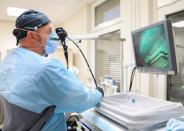 Urim Kasami, a gastroenterology technician at Landstuhl Regional Medical Center's Gastroenterology Clinic who was selected as LRMC's Technician of the Year, tests equipment for functionality, April 23. Landstuhl Regional Medical Center recognizes nurses, medics and technicians during National Nurses Week which is celebrated annually, May 6 to May 12. As part of this celebration of the medical professions, LRMC leaders select a team member to represent their fields and are lauded as the Advanced Practice Registered Nurse, Registered Nurse, Licensed Practical Nurse, Medic and Technician of the Year.