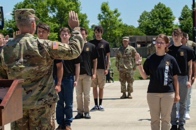 Maj. Gen. John S. Kem, U.S. Army War College commandant, delivers the oath of enlistment to 25 future Soldiers in a ceremony at the U.S. Army Heritage and Education Center in Carlisle, Penn., June 12, 2020.