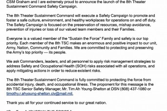 8th Theater Sustainment Command Launches a Comprehensive Safety Campaign