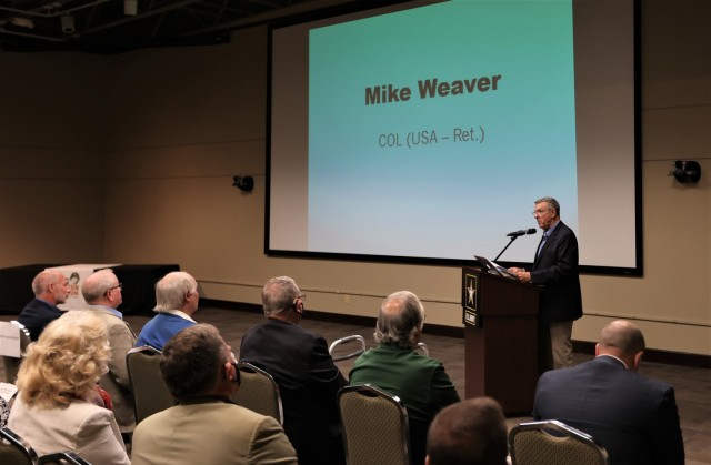 Retired Col. Mike Weaver speaks at the ceremony May 8, 2021, to mark the grand opening of the newest General George Patton Museum exhibit. Weaver was given the honor of cutting the ribbon to commemorate the occasion.