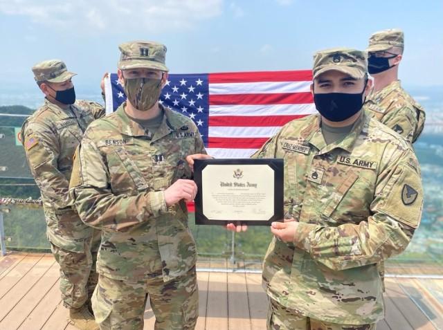 403rd AFSB NCO reenlists atop Apsan Mountain in Daegu, South Korea