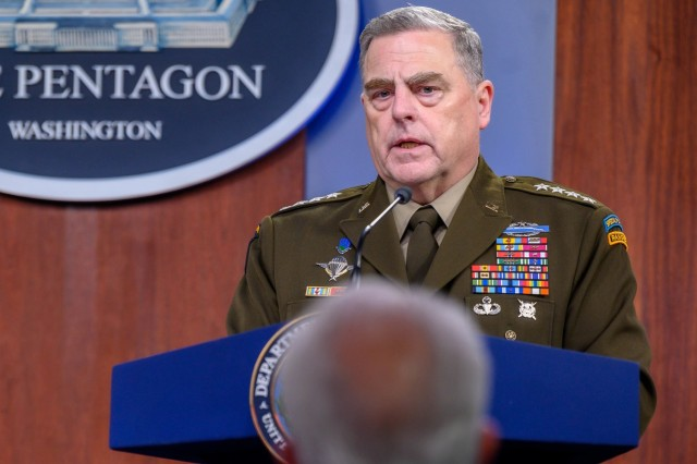 Chairman of the Joint Chiefs of Staff Army Gen. Mark A. Milley address a member of the media during a joint press briefing with Secretary of Defense Lloyd J. Austin III from the Pentagon, Washington, D.C., May 6, 2021. (DoD photo by U.S. Air Force Staff Sgt. Jack Sanders)