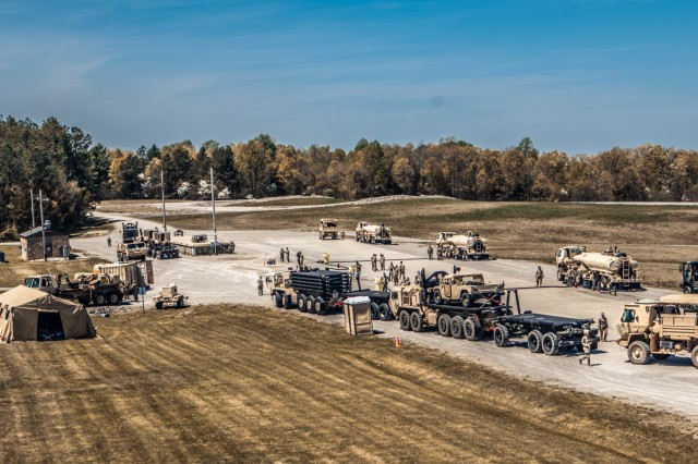 Convoys from the 129th Combat Sustainment Support Battalion, 101st Division Sustainment Brigade, waiting to be refueled by 541st Transportation Company, 129th CSSB, located at Fort Knox, Ky., May 3, 2021.