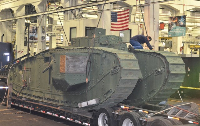 The historic Liberty Mark VIII tank arrives at the Rock Island Arsenal – Joint Manufacturing and Technology Center. JMTC will lead the restoration efforts on the tank, which will become a public static display on the Arsenal. – Photo by Staci-Jill Burnley, Army Sustainment Command