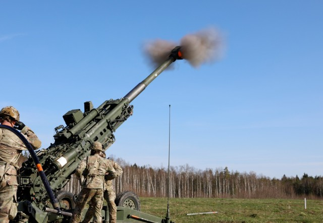 U.S. Army Soldiers assigned to 1st Battalion, 319th Artillery Regiment, 3rd Brigade Combat Team, 82nd Airborne Division, operate and fire the M-777 Howitzer during a live fire exercise in support of Swift Response 21 at the Tapa Central Training Area, Estonia, May 10, 2021. Swift Response 21 is a linked exercise of DEFENDER-Europe 21, which involves special operations activities, air assaults, and live fire exercises in Estonia, Bulgaria, and Romania, demonstrating airborne interoperability among NATO allies and partners. DEFENDER-Europe 21 is a large-scale U.S. Army-led exercise designed to build readiness and interoperability between the U.S., NATO allies and partner militaries. This year, more than 28,000 multinational forces from 26 nations will conduct nearly simultaneous operations across more than 30 training areas in more than a dozen countries from the Baltics to the strategically important Balkans and Black Sea Region. Follow the latest news and information about DEFENDER-Europe 21, visit www.EuropeAfrica.army.mil/DefenderEurope. (U.S. Army photo by Staff Sgt. Michael Gresso).