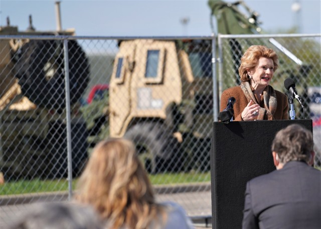 U.S Senator from Michigan, Debbie Stabenow, addresses a socially-distanced crowd at an electrical substation groundbreaking ceremony at Detroit Arsenal May 10.