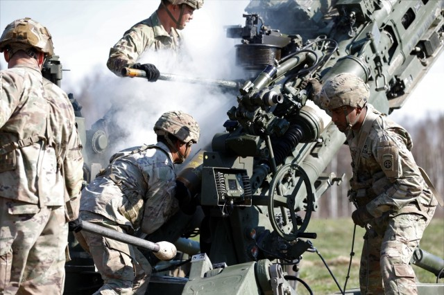 U.S. Army Soldiers assigned to 1st Battalion, 319th Airborne Field Artillery Regiment, 3rd Brigade Combat Team, 82nd Airborne Division, operate the M-777 Howitzer during a live fire exercise during Swift Response 21 at Tapa Central Training Area, Estonia, May 10, 2021. Swift Response 21 is a linked exercise of DEFENDER-Europe 21, which involves special operations activities, air assaults, and live fire exercises in Estonia, Bulgaria, and Romania, demonstrating airborne interoperability among NATO allies and partners. DEFENDER-Europe 21 is a large-scale U.S. Army-led exercise designed to build readiness and interoperability between the U.S., NATO allies and partner militaries. This year, more than 28,000 multinational forces from 26 nations will conduct nearly simultaneous operations across more than 30 training areas in more than a dozen countries from the Baltics to the strategically important Balkans and Black Sea Region. Follow the latest news and information about DEFENDER-Europe 21, visit www.EuropeAfrica.army.mil/DefenderEurope. (U.S. Army photo by Staff Sgt. Michael Gresso)