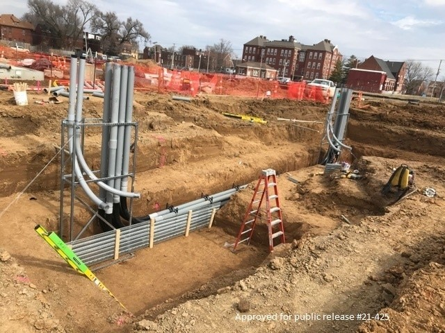 The conduit stub ups at the substation which are used to bring electricity to the Central Utility Plant at the Next National Geospatial-Intelligence Agency West Headquarters site under construction in St. Louis, Mo. March 3, 2021. The building complex is expected to be occupied in 2025.