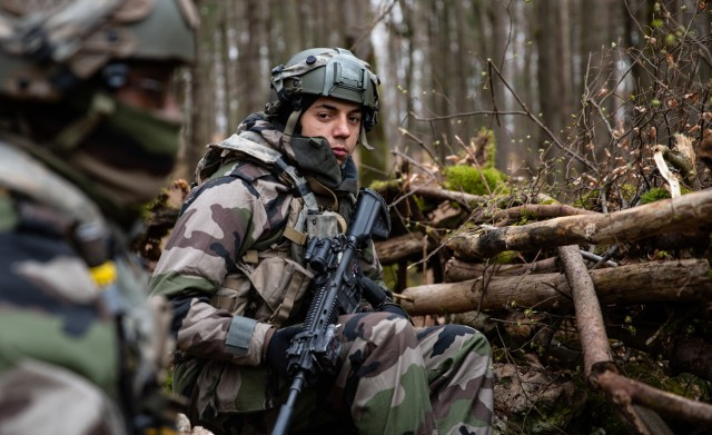 Soldiers in the French Army trains during Dragoon Ready 21 in Hohenfels, Germany on April 17, 2021.  The multinational exercise trained U.S. Army soldiers assigned to the 2nd Cavalry Regiment, and promotes interoperability with U.S. Army soldiers and NATO partners and allies. (U.S. Army photo by Sgt. Amanda Fry)