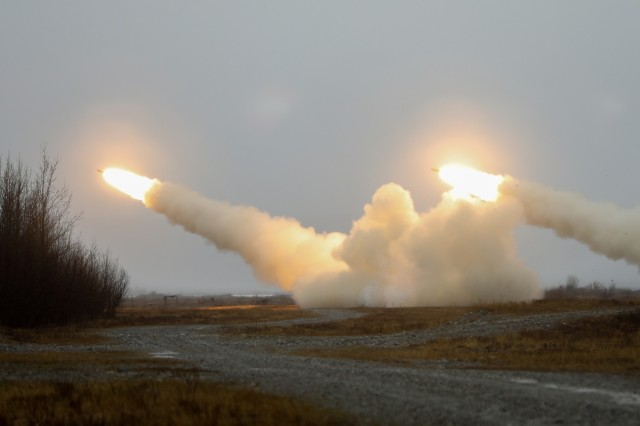 Soldiers from 5th Battalion, 3rd Field Artillery Regiment, 17th Field Artillery Brigade, conduct a live fire from the M142 High Mobility Artillery Rocket System (HIMARS) during exercise Northern Edge 21, May 11, 2021. Northern Edge is a U.S. Indo-Pacific Command sponsored, Headquarters Pacific Air Forces led U.S. joint field training exercise scheduled for May 3-14, 2021, in locations in and around Alaska that uses realistic scenarios to improve joint combat readiness. (U.S. Air Force phot by Maj. Jason Welch)