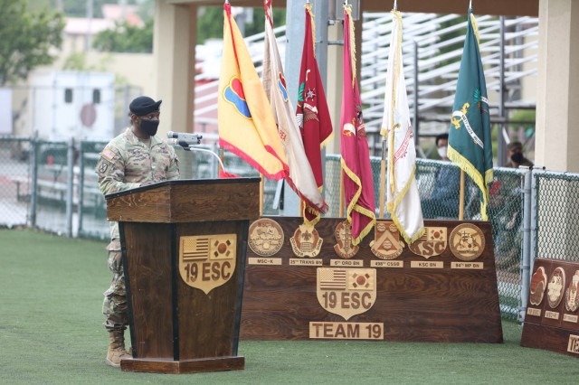 Command Sgt. Maj. LaDerek Green, Command Sergeant Major, 19th Expeditionary Sustainment Command, delivers closing remarks at his relinquishment of responsibility ceremony on Camp Walker, Republic of Korea. A retirement ceremony was held later for CSM Green.