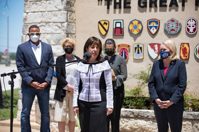 Congresswoman Jackie Speier (California-District 14), announces changes members of the Military Personnel Sub-Committee of the House Armed Services Committee have witnessed during a press conference at Fort Hood, Texas, May 6.