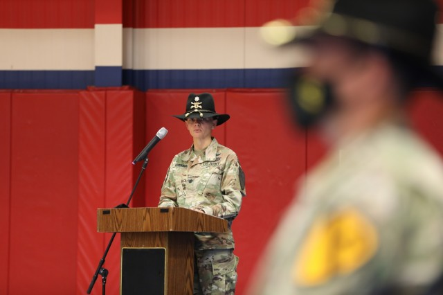 Lt. Col Katherine Leidenberg addresses those in attendance April 16 during the 553rd Division Sustainment Support Battalion conversion ceremony at Fort Hood. Three of the battalion's companies were renamed, and two others will be moving to the 13th Expeditionary Sustainment Command later this summer.