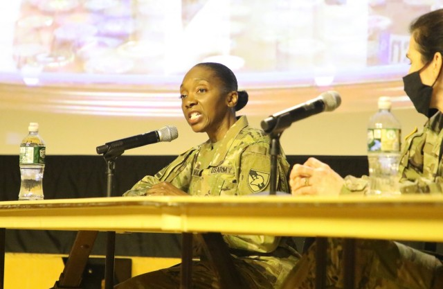 For their commitment to the Corps of Cadets at West Point, Col. Jennifer Hicks-McGowan (above), Col. Winston Williams, Sgt. 1st Class Josephine Pride, Lisa Benitez and Dr. Aundrea Matthews were recognized during the Diversity, Inclusion and Equal Opportunity Conference as DEI champions on April 21-22 and 28-29.