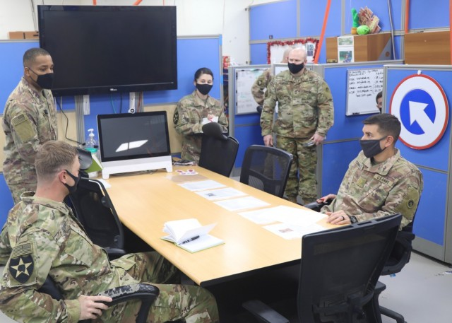 Soldiers of the 1st Theater Sustainment Command (Forward) Plans Team conduct a planning meeting at Camp Arifjan, Kuwait, Mar. 22, 2021. The 1st TSC (FWD) Plans Team brings subject matter experts from numerous fields that provide integration between the 1st TSC Main Command Post at Fort Knox, Kentucky, and forward expeditionary sustainment commands at Camp Arifjan, Kuwait. (U.S. Army photo by Sgt. 1st Class Noel Gerig, 1st TSC Public Affairs)