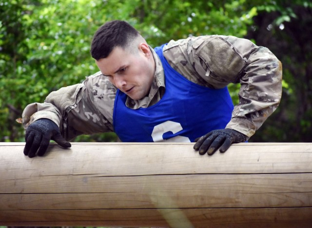Sgt. Joshua Pastor, assigned to U.S. Army Japan, completes an obstacle during the 2021 U.S. Army Japan Best Warrior Competition at Camp Zama, Japan, May 11.