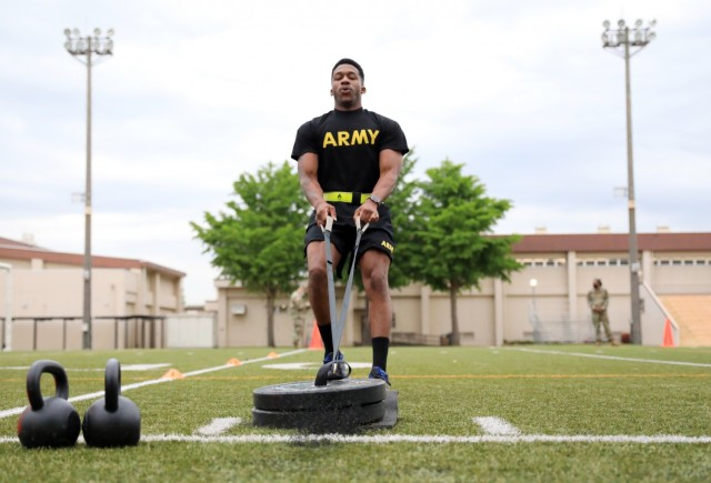 Staff Sgt. Hatali Broderick, assigned to the 78th Signal Battalion, competes in the sprint-drag-carry portion of the Army Combat Fitness Test during the 2021 U.S. Army Japan Best Warrior Competition at Camp Zama, Japan, May 12. Broderick scored a perfect 600 on the test and became the first in the USARJ competition's history to do so.