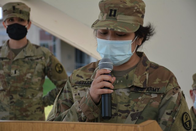 Capt. Theang Sterns, incoming commander, gives remarks during the 94th Training Division-Force Sustainment Headquarters and Headquarters Company change of ceremony at the Fort Lee's Combined Arms Support Command Headquarters. The ceremony was held to bid farewell to Capt. Alex Singh and welcomed Sterns as the 94th TD-FS HHC commander on April 9, 2021. (Photo by Maj. Ebony Gay, 94th TD-FS Public Affairs Office)