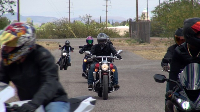 Fort Huachuca, Ariz. motorcycle riders depart post to go on the Buffalo Soldier Motorcycle Safety Ride.