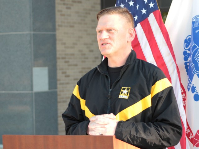 Maj. Gen. Darren Werner, Commanding General U.S. Army Tank-automotive and Armaments Command, provided opening remarks for a run/walk event at the Detroit Arsenal, Michigan, to wrap-up the Army Emergency Relief donations period on May 14.  The AER donation period was extended an extra month until June 15.