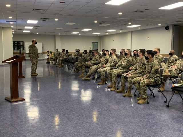 Col. Christopher Crary, FED commander, briefs 11th Engineer Battalion Soldiers on the mission and roles of the District, and how it fits into the greater USACE mission. (U.S. Army photo by Sameria Zavala)