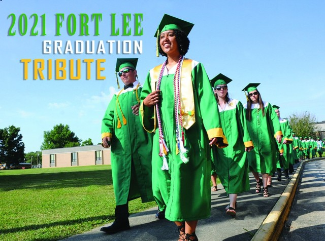 Prince George High School graduates-to-be head into the athletic stadium for the school's 65th commencement exercises June 16, 2018.  The Fort Lee Public Affairs Office welcomes photo submissions from all high schools -- including those outside the local area -- for its annual tribute.