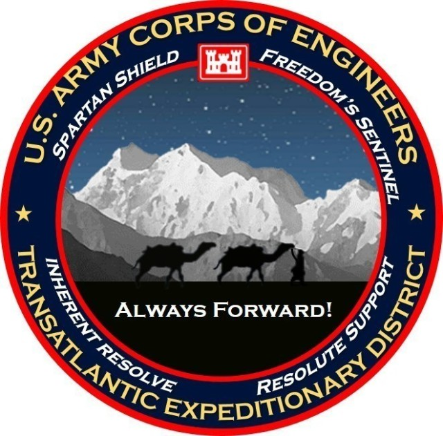 Introducing the Transatlantic Expeditionary District logo with a Mission Statement that reads: The Transatlantic Expeditionary District provides theater-wide engineering solutions and expertise in support of U. S. Coalition, and Host Nation efforts in order to enable the building of partner capacity within CENTCOM area of responsibility and to support overall CENTCOM mission objectives. (Photo courtesy of TAE)