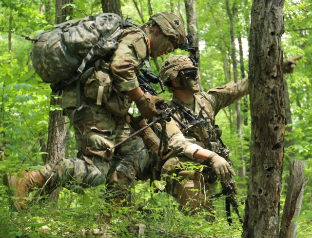 """101 Airborne Division (Air Assault), 1st Brigade Combat Team, 2-327th """"No Slack"""", Charlie Company """"Cougars"""" conducted a Deployment Readiness Exercise """"Operation Eagle Savage Strike"""" on May 17, 2021 at Fort Campbell, Ky.   The """"Cougars"""" performed land navigation to maneuver through various wooded areas throughout Fort Campbell. There was no set distance for the land navigation phase of the exercise.   (U.S. Army photo by Spc. Jeremy Stillwagner, 40th Public Affairs Detachment)"""