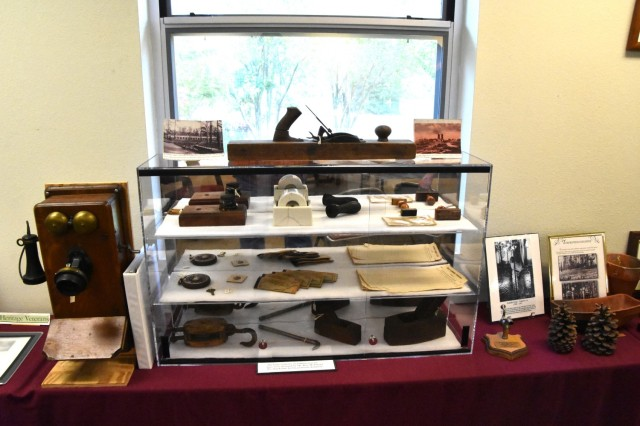 Artifacts found on and around Fort Polk on display at the Fort Polk cultural resource office.