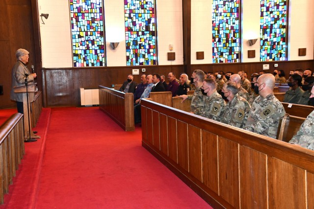 Dave Roever, left, was the guest speaker at Fort Polk's National Day of Prayer event held May 6. After breakfast, prayer and music, Roever spoke to those attending the ceremony about his many struggles and the importance of resiliency.