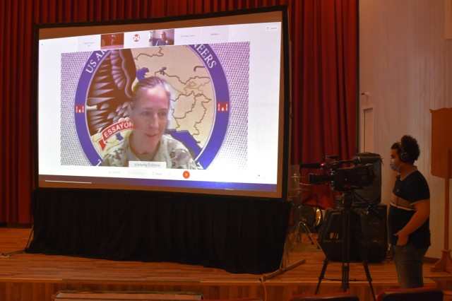 Brigadier General Kimberly Colloton, Transatlantic Division Commander, presided virtually over the Uncasing of the Colors to the USACE Transatlantic Expeditionary District on Armed Forces Day, May 15, 2021. (Photo by Rick Benoit)