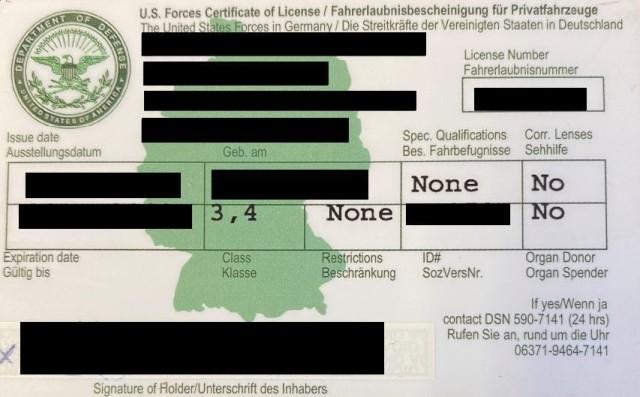 USAREUR-AF Driver's license