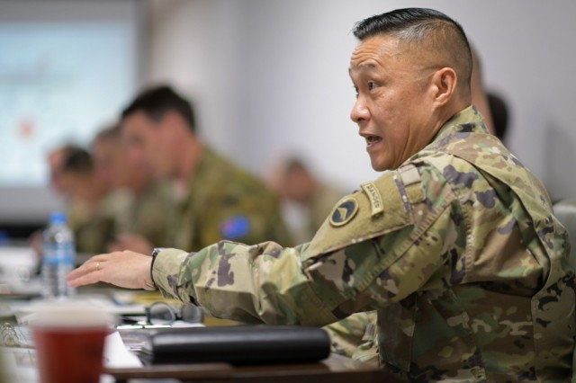 Maj. Gen. Viet X. Luong, U.S. Army Japan commander, addresses senior leaders of the Japan Ground Self-Defense Force during a multi-domain operations/cross-domain operations meeting on Dec. 9, 2019, at Camp Asaka, Japan.