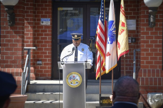 Robert Baker, Directorate of Emergency Services Chief of Police, speaks during the Law Enforcement Wreath Laying Ceremony, May 14, 2021, at Fort Hamilton, N.Y
