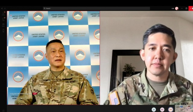 Maj. Gen. Viet X. Luong, U.S. Army Japan commander, discusses his story as a Vietnam War refugee during a livestream event on May 17, 2021. After traveling from South Vietnam with his family in 1975 he later joined the Army, becoming the first Vietnam-born American Soldier to reach the general officer rank.