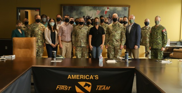 ARL staff and leaders from the 1st Cavalry Division and III Corps pose for a photo during a recent visit to the base to help steer the development of future, game-changing technology.