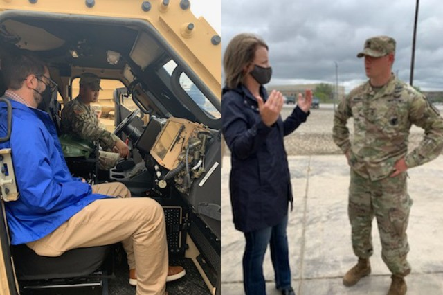 ARL researcher Dr. Garrett Warnell interacts with a Soldier from Fort Hood to gain a better understanding of the technology that is critically needed by warfighters on the battlefield. (Left)  ARL's Shannon Strank speaks to a Fort Hood Soldier during a recent visit to the base to help steer the development of future, game-changing technology. (Right)