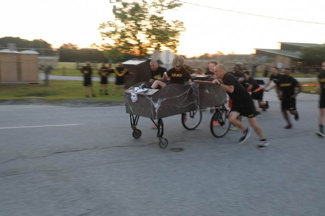 U.S. Soldiers from the 3rd Infantry Division participate in a bed race during Marne Week 2021 at Fort Stewart, Georgia, on May 17. The bed race kicks off this Marne week, standing in as a fun alternative to the traditional division run (U.S. Army photo by Sgt. Lance Hartung)